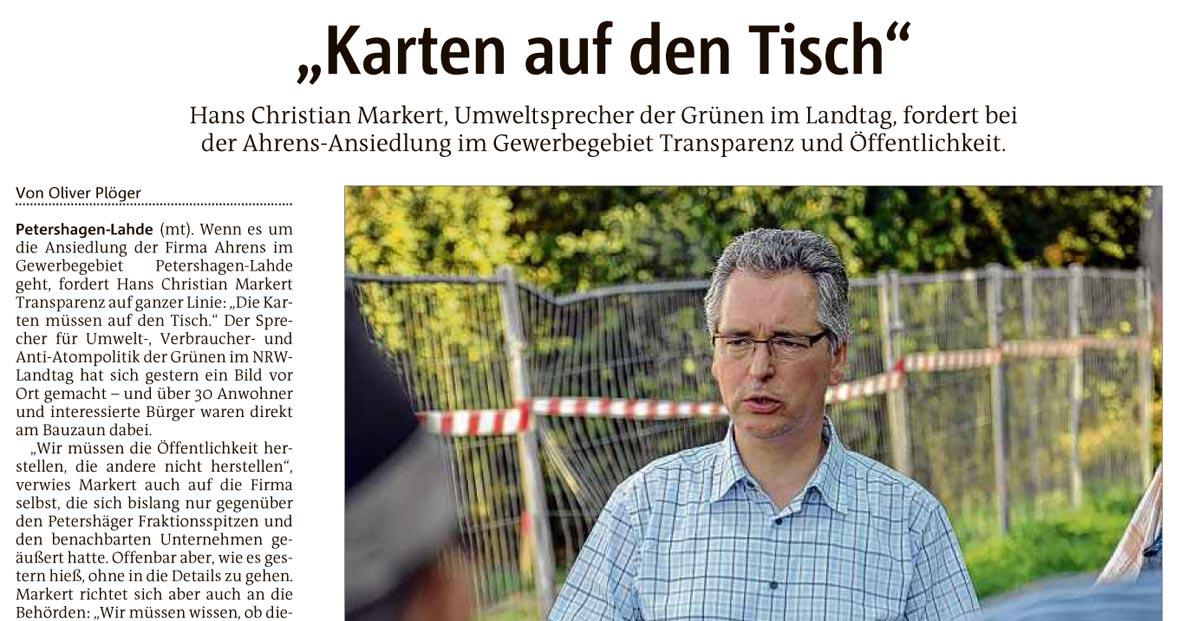 """""""Karten auf den Tisch"""" - Beitrag aus dem Mindener Tagesblatt"""